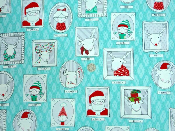 Ink and Arrow - Mingle & Jingle - 25917 Aqua - Santa and Friends Framed - One Yard of Fabric By the yard