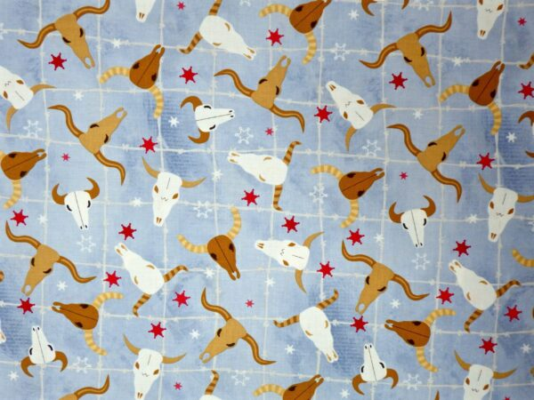 Learning the Ropes - Steer Heads on Light Blue Cowboy Western - 70414 Blue- 1 Yard of Fabric By the yard