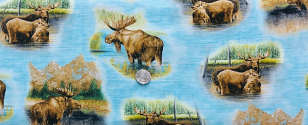 Moose vignettes in blue water. By Waters Edge Quilting Treasures 26042 B - Fabric by the yard.