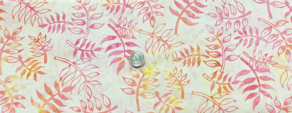 Pink, yellow and peach leaf batik. Beautiful! Anthology Fabric 305Q-7 Fabric by the yard.