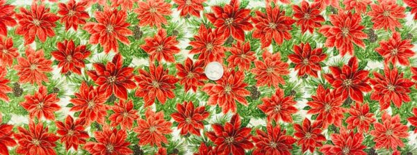 Poinsettias in rich red and greens with metallic gold accents on creamy white background. Noel Cotton 15301 - 1 yard of fabric