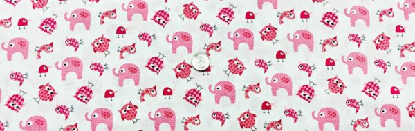 Rasberry pink elephants, owls and birds on white. Brother Sister by Clothworks Y2145-43 - Fabric by the yard.