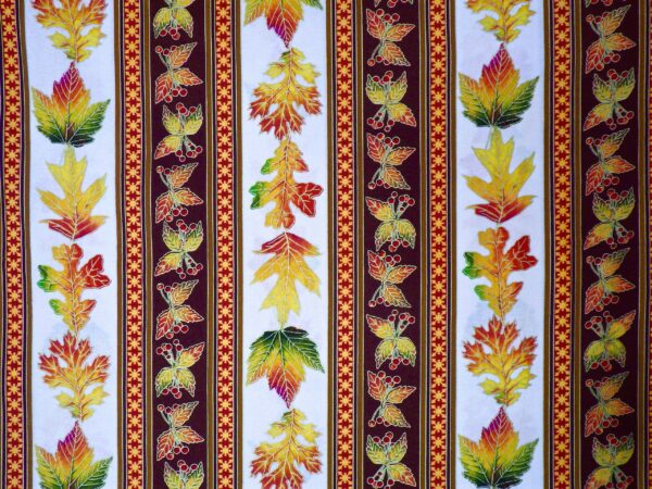 Robert Kaufman - Autumn Leaves Metallic - 72833 Autumn - Red Yellow Orange Green Fall Leaves Stripe on Cream - by the yard