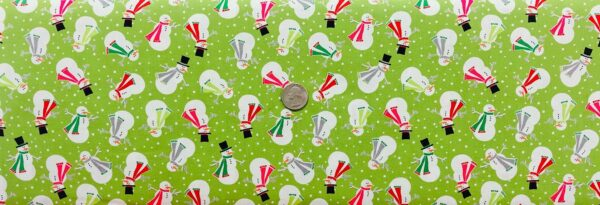 Snowmen all dressed up in red, green and grey scarves on lime green with snowballs. Joyful Snowmen by Contempo 4583 - 1 yard of fabric