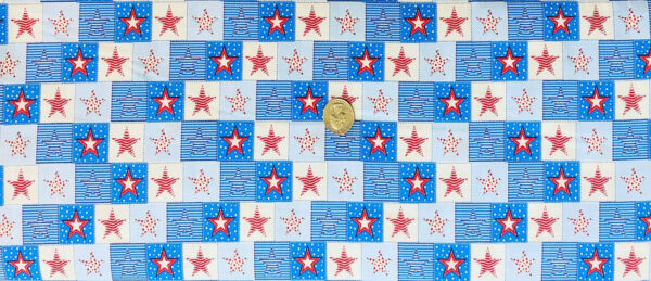 Stars, stripes and dots in a checked pattern. Red, white and blue. Fourth of July Fabric. Patriotic by MDG 49533 - 1 yard of fabric.