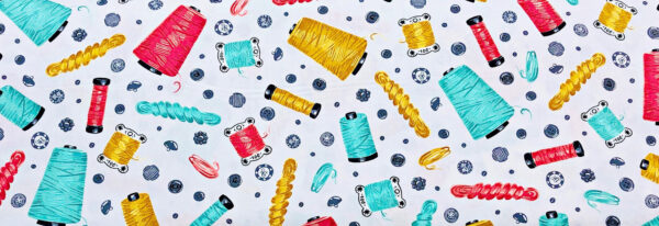 Teal and coral spools and grey buttons on crisp white background. Sewn with Charm by Robert Kaufman 18005 - Fabric by the yard
