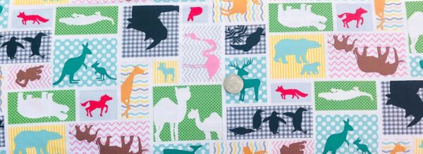 Zoo animals in squares and pastel. Flamingos, alligators and more. Little Explorers 4225 by Studio E - Fabric by the yard
