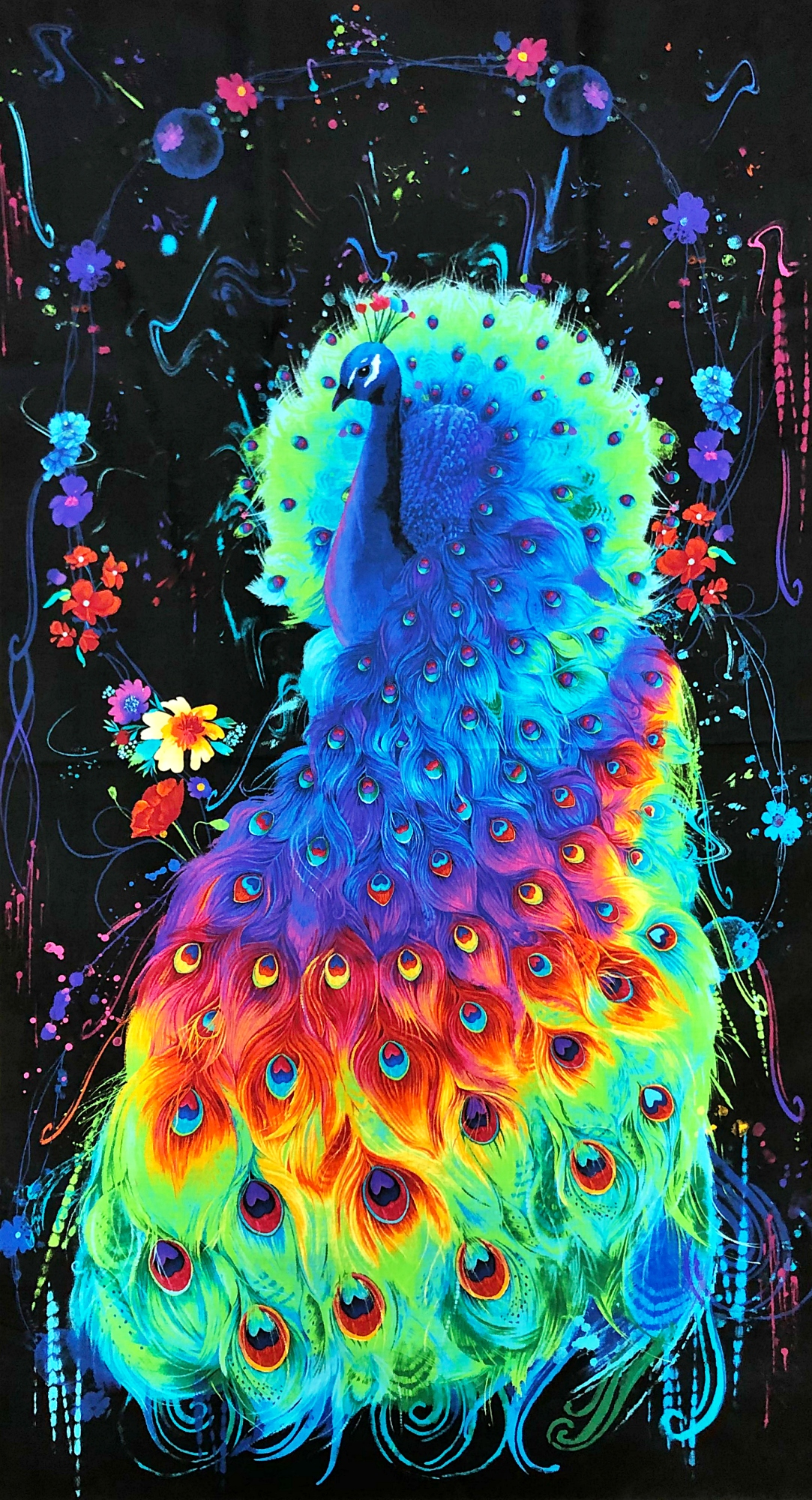 Timeless Treasures Rainbow Peacock Feathers Packed 1 Yard